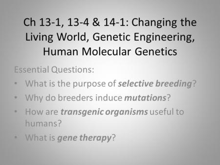 Ch 13-1, 13-4 & 14-1: Changing the Living World, Genetic Engineering, Human Molecular Genetics Essential Questions: What is the purpose of selective breeding?