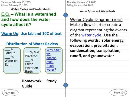 Page 103 Homework: Study Guide Page 104 Thursday, February 19, 2015 Friday, February 20, 2015 Water Cycles and Watersheds Thursday, February 19, 2015 Friday,