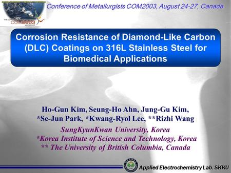 Ho-Gun Kim, Seung-Ho Ahn, Jung-Gu Kim, *Se-Jun Park, *Kwang-Ryol Lee, **Rizhi Wang SungKyunKwan University, Korea *Korea Institute of Science and Technology,