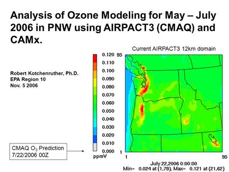 Analysis of Ozone Modeling for May – July 2006 in PNW using AIRPACT3 (CMAQ) and CAMx. Robert Kotchenruther, Ph.D. EPA Region 10 Nov. 5 2006 CMAQ O 3 Prediction.
