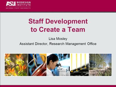 Staff Development to Create a Team Lisa Mosley Assistant Director, Research Management Office.