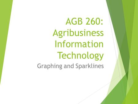 AGB 260: Agribusiness Information Technology Graphing and Sparklines.
