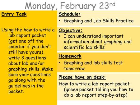 Monday, February 23 rd Entry Task Using the how to write a lab report packet (get one off the counter if you don't still have yours), write 3 questions.