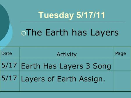 Tuesday 5/17/11  The Earth has Layers Date Activity Page 5/17 Earth Has Layers 3 Song 5/17 Layers of Earth Assign.