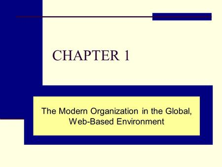CHAPTER 1 The Modern Organization in the Global, Web-Based Environment.
