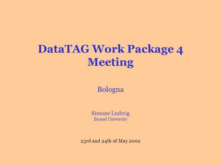 DataTAG Work Package 4 Meeting Bologna Simone Ludwig Brunel University 23rd and 24th of May 2002.