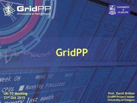 Slide David Britton, University of Glasgow IET, Oct 09 1 Prof. David Britton GridPP Project leader University of Glasgow UK-T0 Meeting 21 st Oct 2015 GridPP.