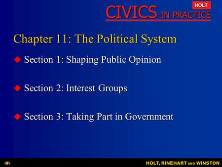 CIVICS IN PRACTICE HOLT HOLT, RINEHART AND WINSTON1 Chapter 11: The Political System  Section 1: Shaping Public Opinion  Section 2: Interest Groups 