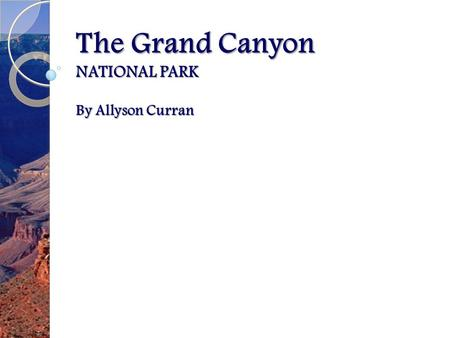 The Grand Canyon NATIONAL PARK By Allyson Curran.