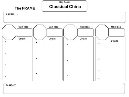 The FRAME Key Topic is about... So What? Details Main Idea Details Main Idea Details Main Idea Details Main Idea Classical China.