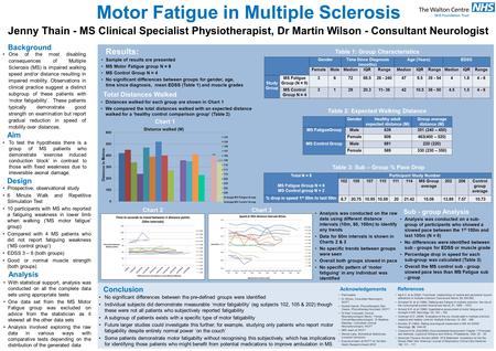 Motor Fatigue in Multiple Sclerosis Jenny Thain - MS Clinical Specialist Physiotherapist, Dr Martin Wilson - Consultant Neurologist Background One of the.