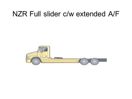 "NZR Full slider c/w extended A/F. 5 th wheel Slider Truck/Tractor D-train – Min. FA/AF 230"" 29' 3"" (Max 32' 9"") D-Train Configuration Typical Day Cab."