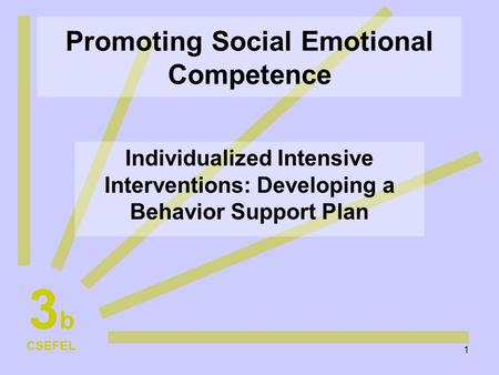 1 Promoting Social Emotional Competence Individualized Intensive Interventions: Developing a Behavior Support Plan CSEFEL 3b3b.