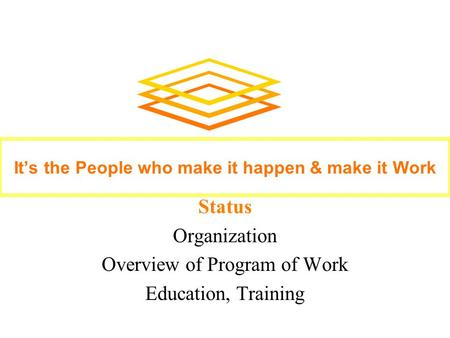 Status Organization Overview of Program of Work Education, Training It's the People who make it happen & make it Work.