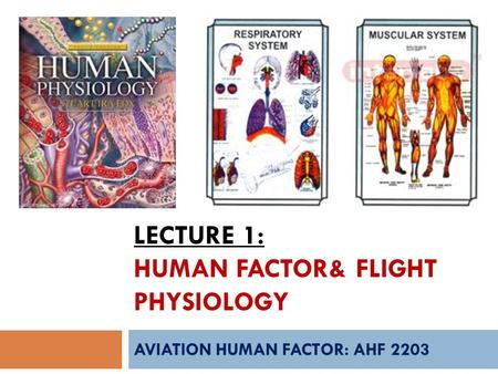 LECTURE 1: HUMAN FACTOR& FLIGHT PHYSIOLOGY AVIATION HUMAN FACTOR: AHF 2203.