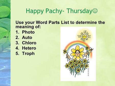 Happy Pachy- Thursday Use your Word Parts List to determine the meaning of: 1.Photo 2.Auto 3.Chloro 4.Hetero 5.Troph.