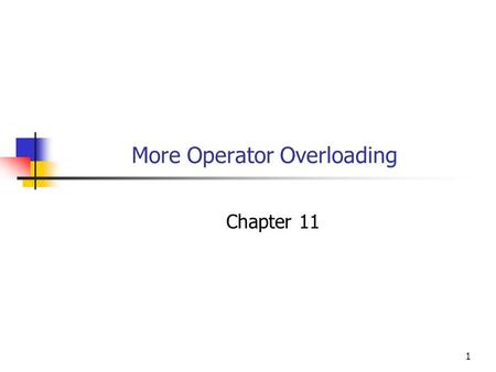 1 More Operator Overloading Chapter 11. 2 Objectives You will be able to: Define and use an overloaded operator to output objects of your own classes.
