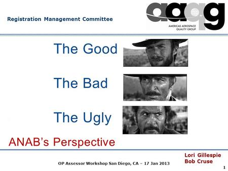 Company Confidential Registration Management Committee The Good Lori Gillespie Bob Cruse OP Assessor Workshop San Diego, CA – 17 Jan 2013 1 The Bad The.