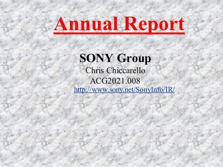 SONY Group Chris Chiccarello ACG2021.008  Annual Report.