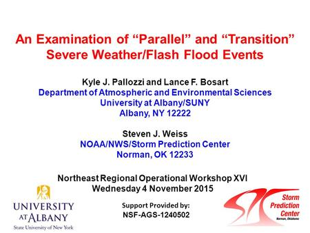 "An Examination of ""Parallel"" and ""Transition"" Severe Weather/Flash Flood Events Kyle J. Pallozzi and Lance F. Bosart Department of Atmospheric and Environmental."