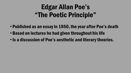 an analysis of moralism and romanticism of edgar allan poes work This paper will give a detailed analysis of the gothic sentiments in the character of the painter in edgar allan poe's short story the oval portrait, published in 1850.