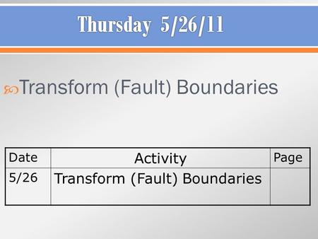  Transform (Fault) Boundaries Date Activity Page 5/26 Transform (Fault) Boundaries.