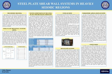 STEEL PLATE SHEAR WALL SYSTEMS IN HEAVILY SEISMIC REGIONS Libby Digman Brad Soltys High seismic activity demolishes buildings and devastates cities. Densely.