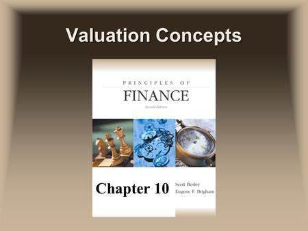 Valuation Concepts Chapter 10. Basic Valuation uFrom the time value of money we realize that the value of anything is based on the present value of the.