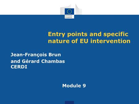 Entry points and specific nature of EU intervention Jean-François Brun and Gérard Chambas CERDI Module 9.