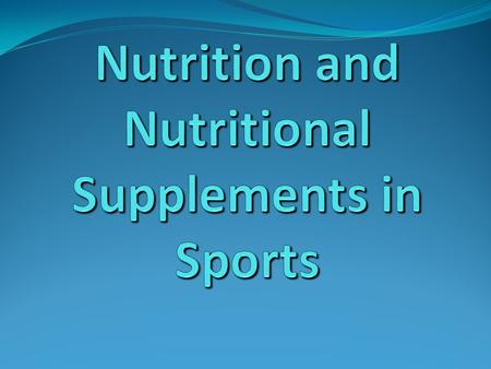 Objectives Increase awareness that nutrition can affect an athlete's performance Discuss current nutritional recommendations for athletes Review the 1994.