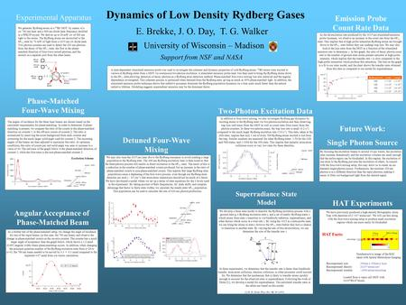 Dynamics of Low Density Rydberg Gases Experimental Apparatus E. Brekke, J. O. Day, T. G. Walker University of Wisconsin – Madison Support from NSF and.
