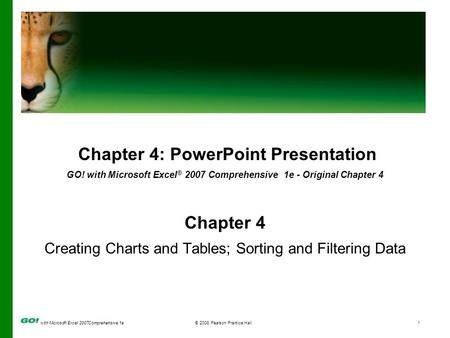 With Microsoft Excel 2007Comprehensive 1e© 2008 Pearson Prentice Hall1 Chapter 4: PowerPoint Presentation GO! with Microsoft Excel ® 2007 Comprehensive.