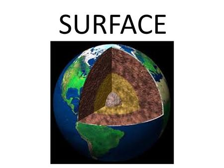 SURFACE. The outermost covering or layer. EARTH.