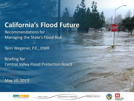 California's Flood Future Recommendations for Managing the State's Flood Risk Terri Wegener, P.E., DWR Briefing for Central Valley Flood Protection Board.