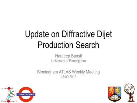 Update on Diffractive Dijet Production Search Hardeep Bansil University of Birmingham Birmingham ATLAS Weekly Meeting 13/09/2012.