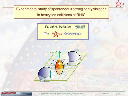 STAR QM2009 Experimental study of spontaneous strong parity violation… S.A. Voloshinpage 1 Experimental study of spontaneous strong parity violation in.