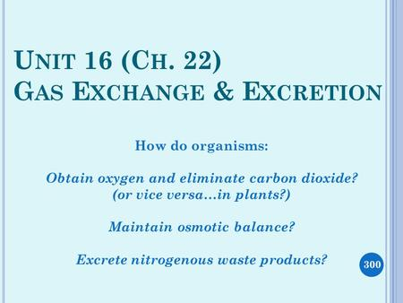 U NIT 16 (C H. 22) G AS E XCHANGE & E XCRETION How do organisms: Obtain oxygen and eliminate carbon dioxide? (or vice versa…in plants?) Maintain osmotic.