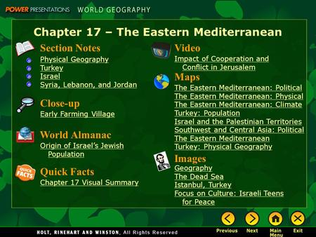 Chapter 17 – The Eastern Mediterranean