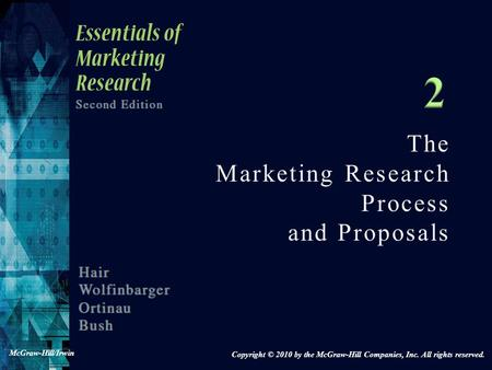 The Marketing Research Process and Proposals Copyright © 2010 by the McGraw-Hill Companies, Inc. All rights reserved. McGraw-Hill/Irwin.