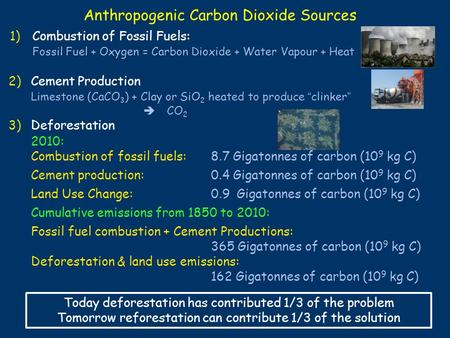 Anthropogenic Carbon Dioxide Sources 2010: 1)Combustion of Fossil Fuels: Fossil Fuel + Oxygen = Carbon Dioxide + Water Vapour + Heat 3)Deforestation 2)Cement.