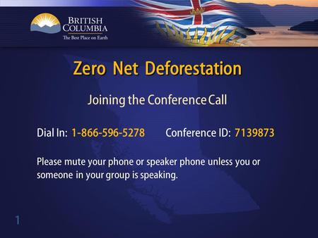 1 Joining the Conference Call Zero Net Deforestation Dial In: 1-866-596-5278 Conference ID: 7139873 Please mute your phone or speaker phone unless you.