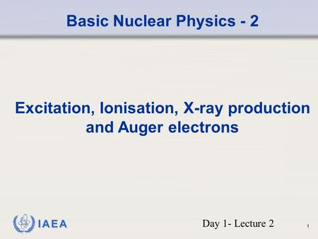 IAEA Basic Nuclear Physics - 2 Excitation, Ionisation, X-ray production and Auger electrons Day 1- Lecture 2 1.