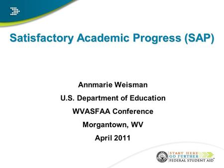 Satisfactory Academic Progress (SAP) Annmarie Weisman U.S. Department of Education WVASFAA Conference Morgantown, WV April 2011.