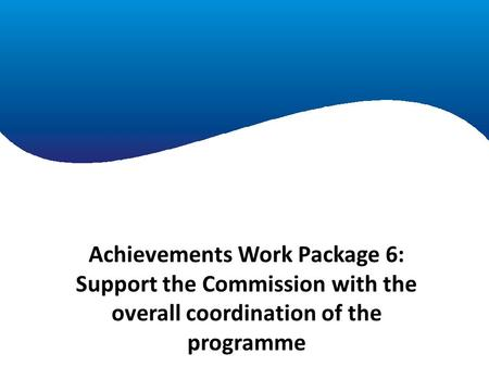 Achievements Work Package 1 Achievements Work Package 6: Support the Commission with the overall coordination of the programme.