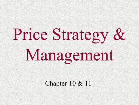 Price Strategy & Management