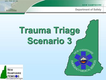 "Trauma Triage Scenario 3. Scenario 3 Scene Info uSwimmer struck by a boat uBoat was traveling ""fast"" u76 y/o male patient uConscious, but ""hurt bad"""
