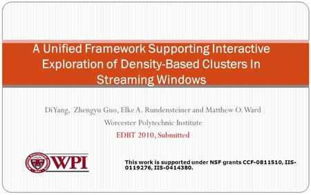Di Yang, Zhengyu Guo, Elke A. Rundensteiner and Matthew O. Ward Worcester Polytechnic Institute EDBT 2010, Submitted 1 A Unified Framework Supporting Interactive.
