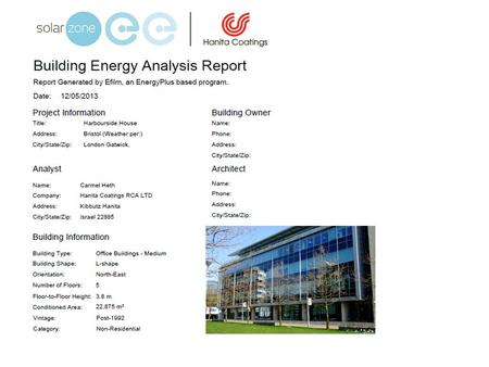 Executive Summary – In support of full Energyplus report 12/05/2013 Highlights Potential annual energy savings kWh83995 -147994 Potential annual energy.