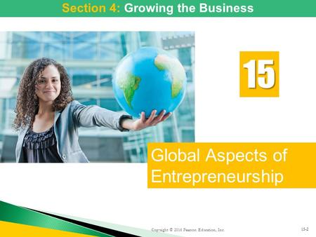Copyright © 2016 Pearson Education, Inc. Global Aspects of Entrepreneurship 15 15-2 Section 4: Putting the Business Plan to Work: Sources of Funds Section.