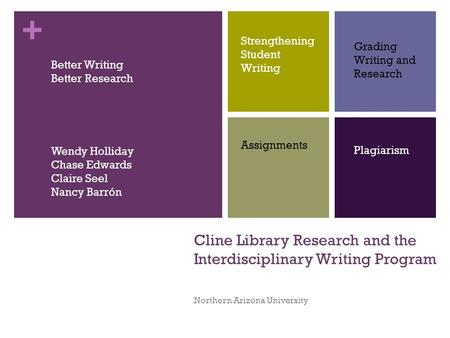 + Cline Library Research and the Interdisciplinary Writing Program Northern Arizona University Strengthening Student Writing Grading Writing and Research.